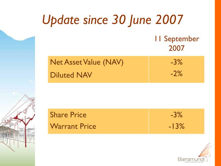 Update since 30 June 2007