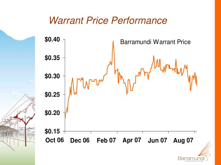 Warrant Price Performance