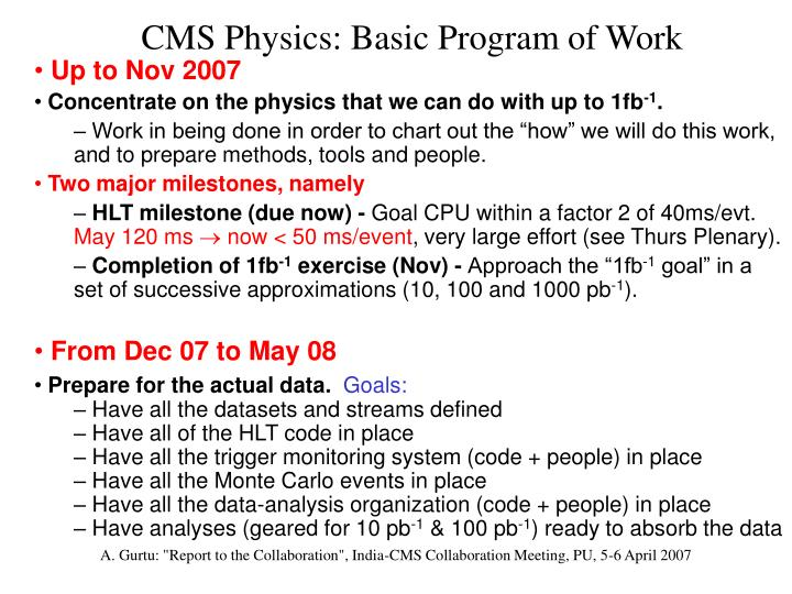 CMS Physics: Basic Program of Work
