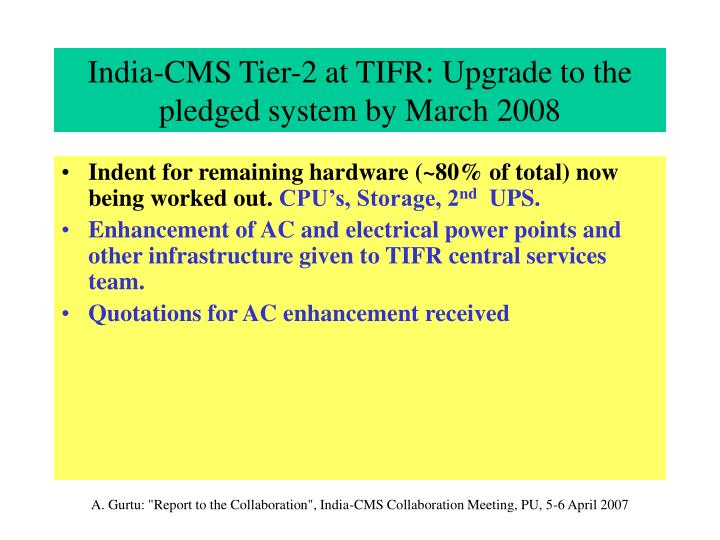 India-CMS Tier-2 at TIFR: Upgrade to the pledged system by March 2008