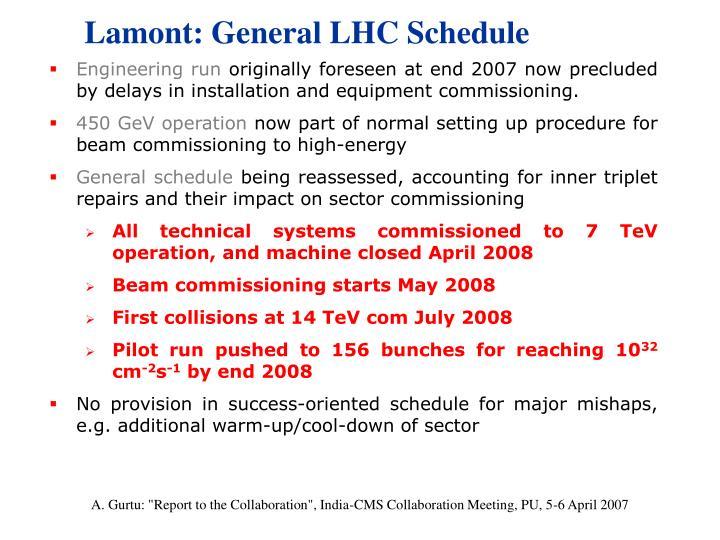 Lamont: General LHC Schedule