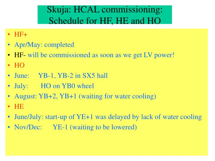 Skuja: HCAL commissioning: Schedule for HF, HE and HO