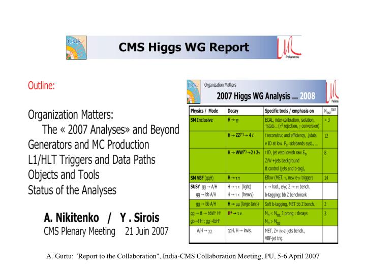 "A. Gurtu: ""Report to the Collaboration"", India-CMS Collaboration Meeting, PU, 5-6 April 2007"