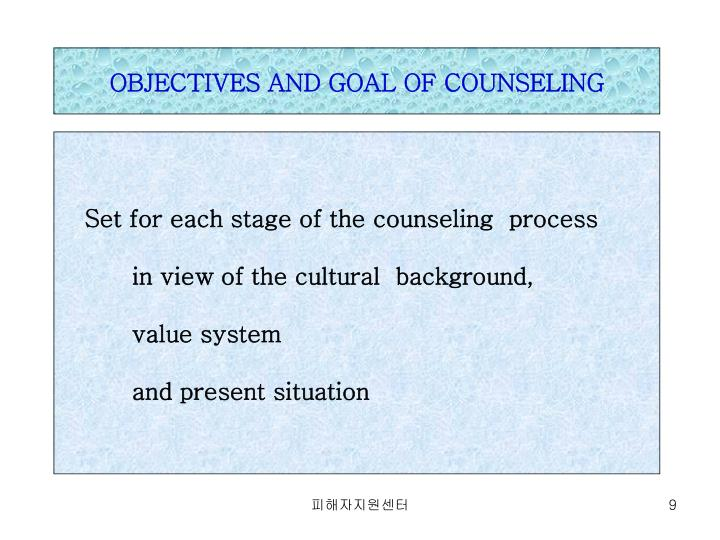 OBJECTIVES AND GOAL OF COUNSELING