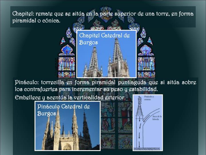 Chapitel: remate que se sitúa en la parte superior de una torre, en forma piramidal o cónica.