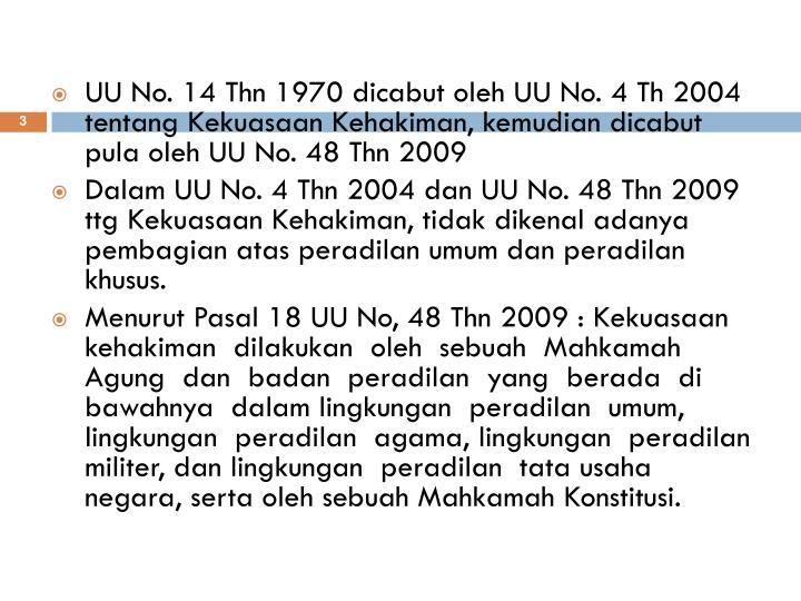 UU No. 14 Thn 1970 dicabut oleh UU No. 4 Th 2004 tentang Kekuasaan Kehakiman, kemudian dicabut pula oleh UU No. 48 Thn 2009