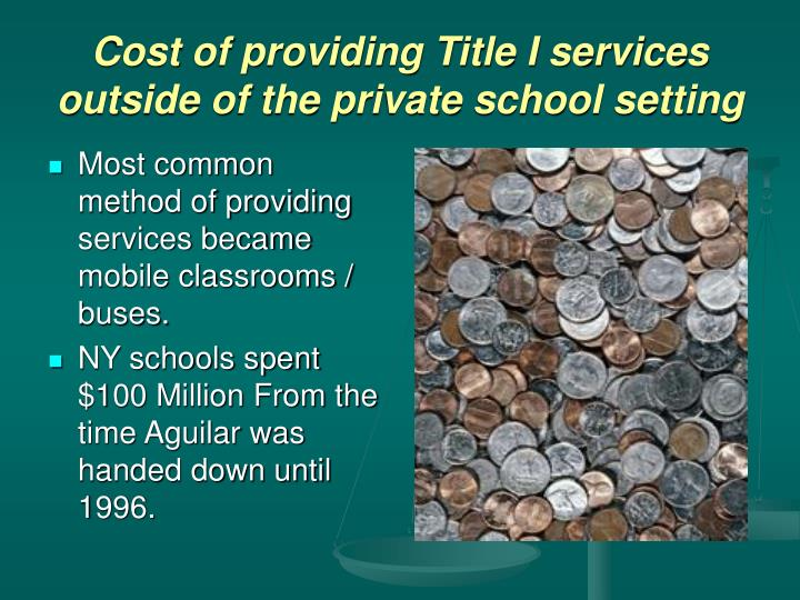 Cost of providing Title I services outside of the private school setting