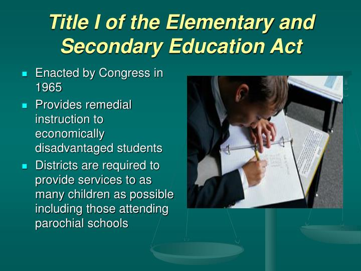 Title i of the elementary and secondary education act