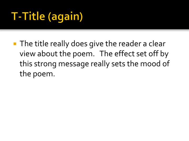 T-Title (again)