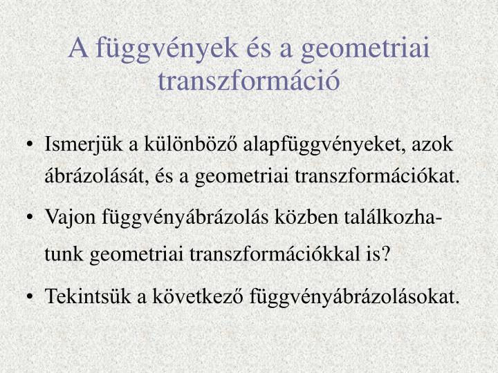 A függvények és a geometriai transzformáció