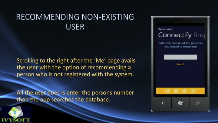 RECOMMENDING NON-EXISTING USER