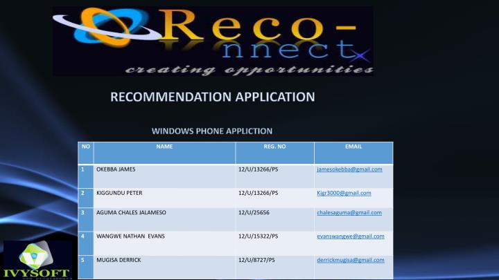 RECOMMENDATION APPLICATION