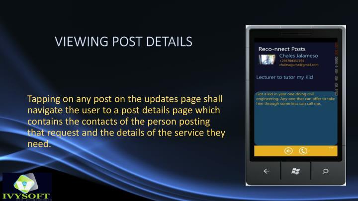 VIEWING POST DETAILS