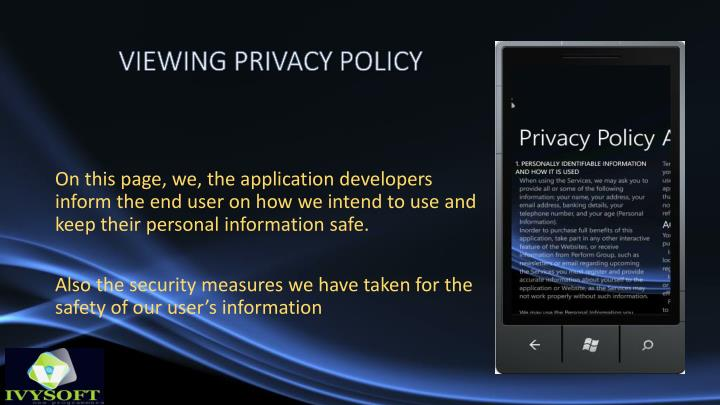 Viewing privacy policy