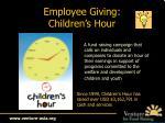 employee giving children s hour