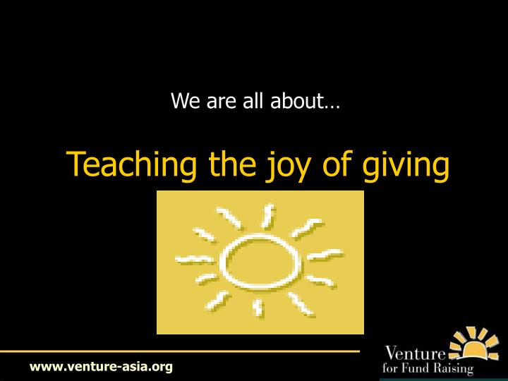 Teaching the joy of giving