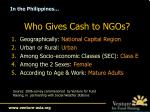 who gives cash to ngos