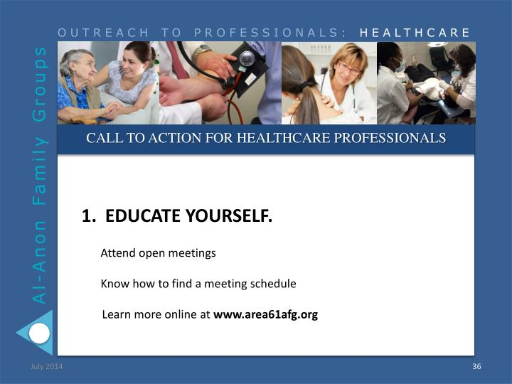 CALL TO ACTION FOR HEALTHCARE PROFESSIONALS