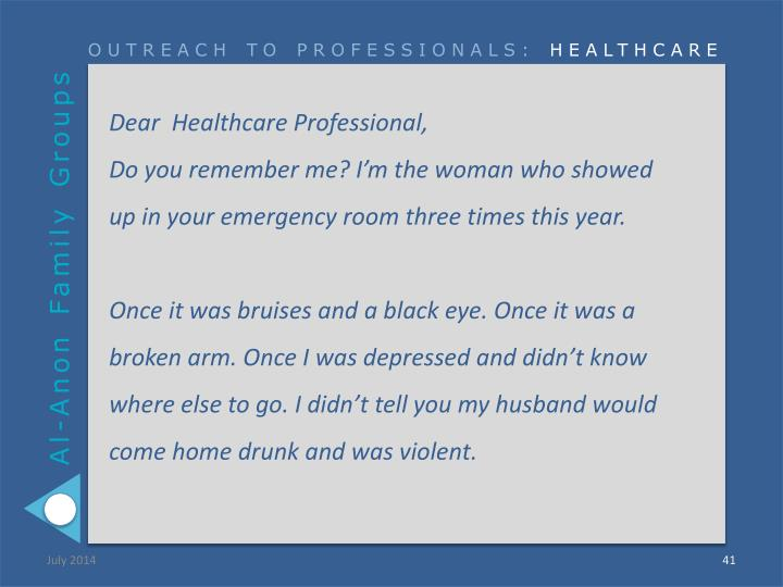 Dear  Healthcare Professional,