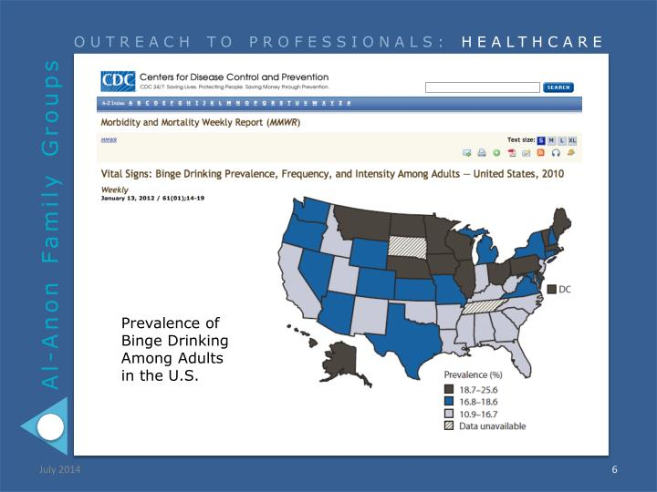 Prevalence of Binge Drinking Among Adults
