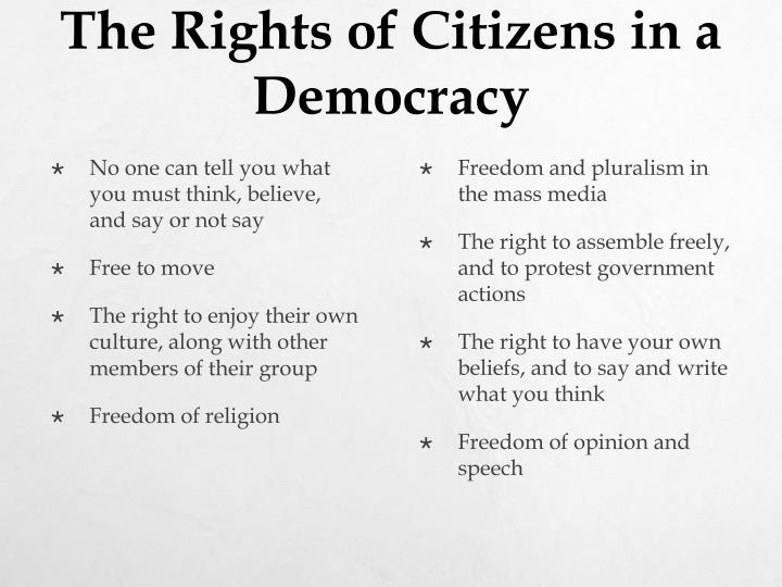 The Rights of Citizens in a Democracy