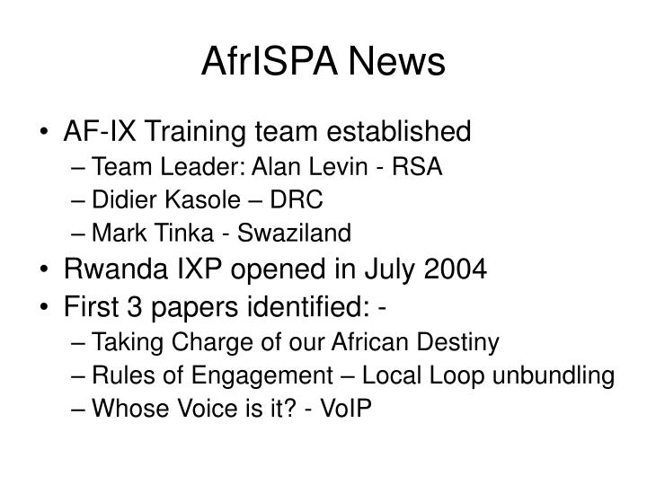 AfrISPA News