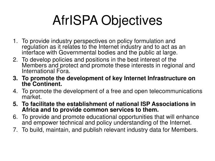 AfrISPA Objectives