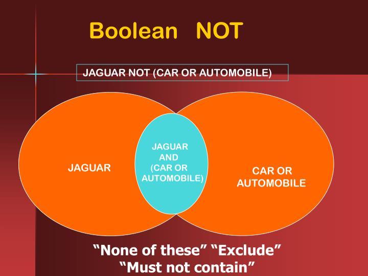 Boolean   NOT