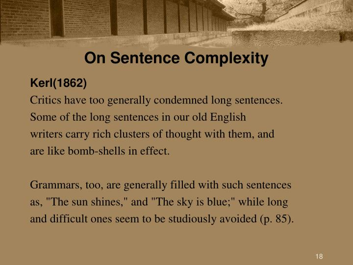 On Sentence Complexity
