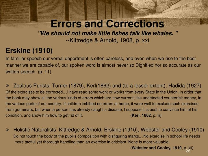 Errors and Corrections