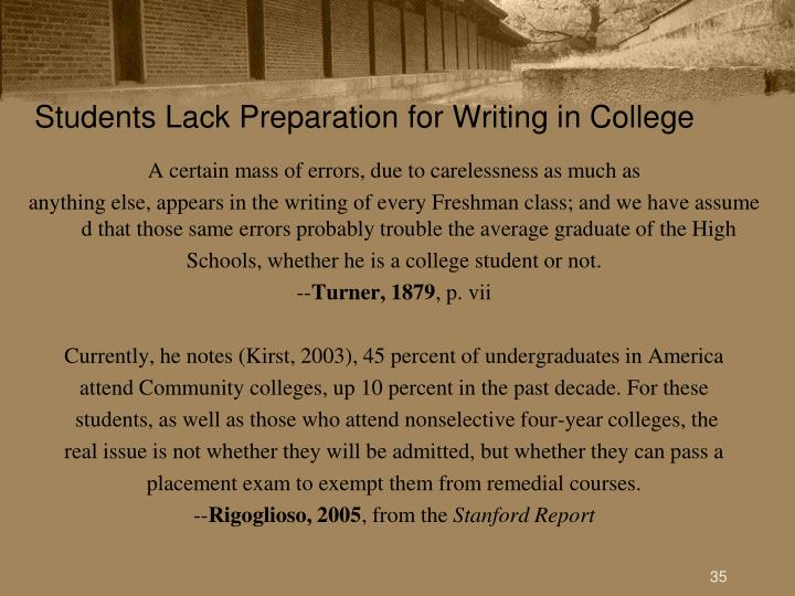 Students Lack Preparation for Writing in College