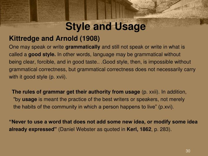 Style and Usage