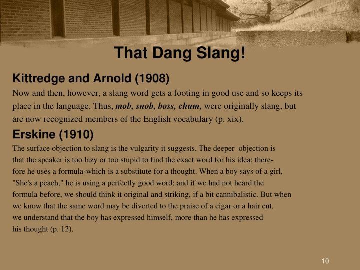 That Dang Slang!