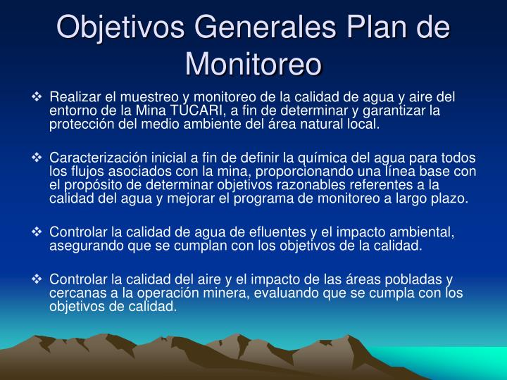 Objetivos Generales Plan de Monitoreo