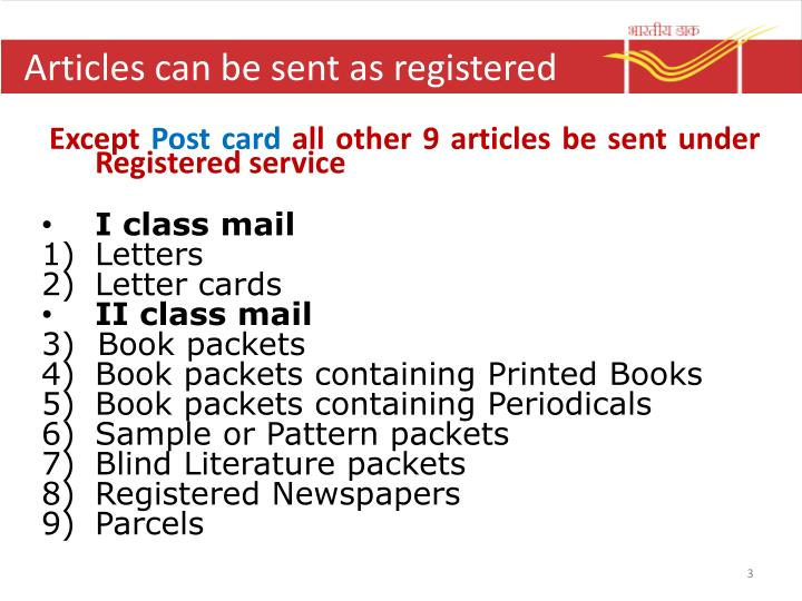 Articles can be sent as registered