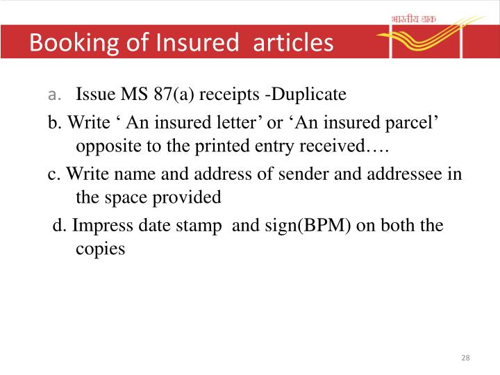 Booking of Insured  articles