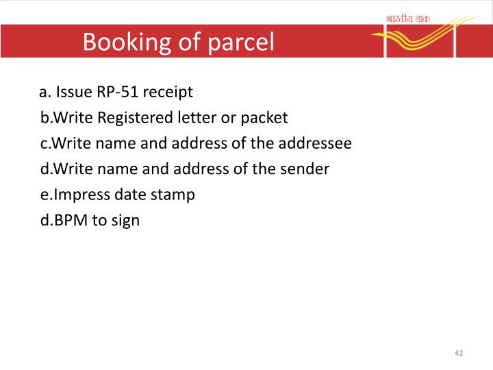 Booking of parcel