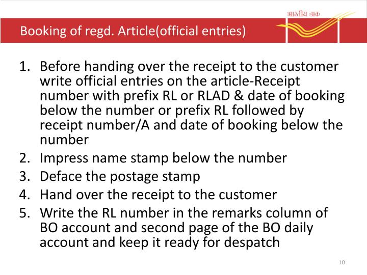 Booking of regd. Article(official entries)
