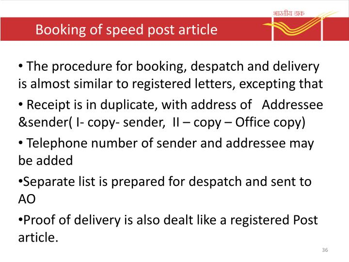 Booking of speed post article