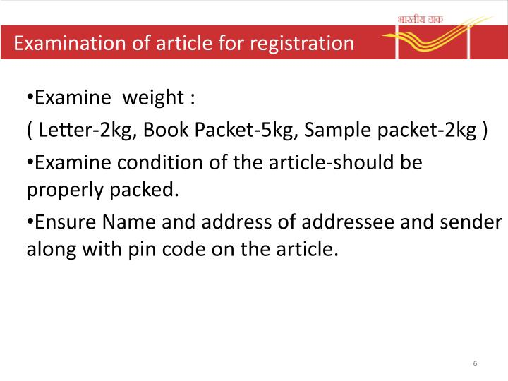 Examination of article for registration