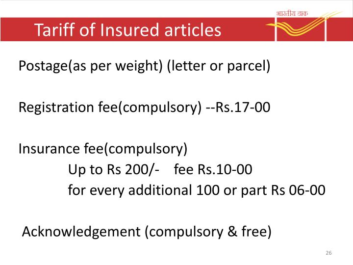 Tariff of Insured articles