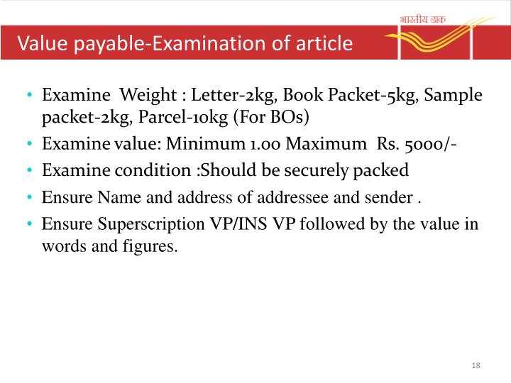 Value payable-Examination of article