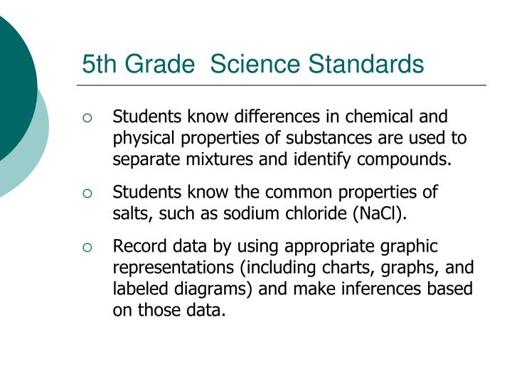 5th Grade  Science Standards