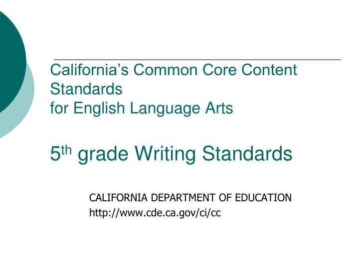 California's Common Core Content Standards