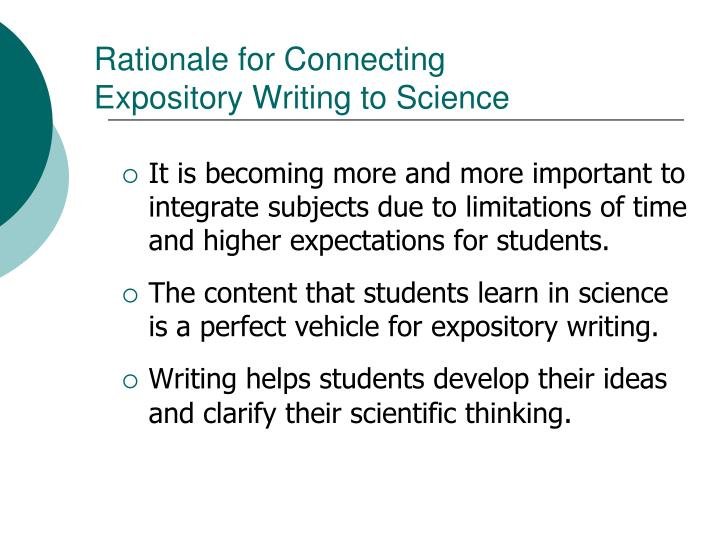 Rationale for connecting expository writing to science