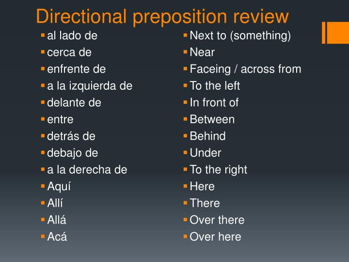 Directional preposition review