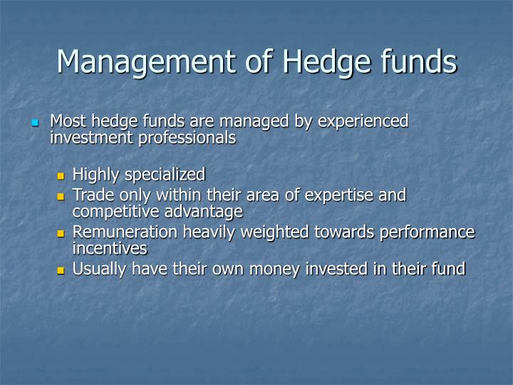 Management of Hedge funds