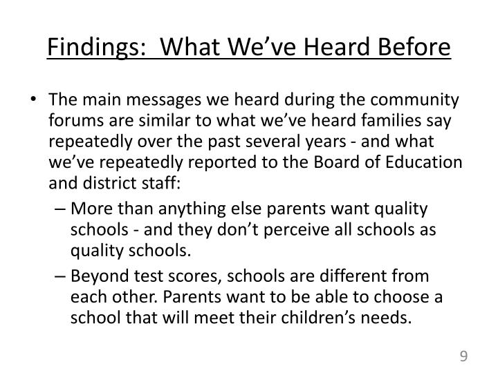 Findings:  What We've Heard Before