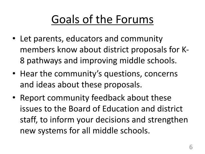 Goals of the Forums