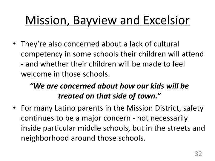 Mission, Bayview and Excelsior